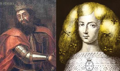 Monasterios de Alcobaça, retrato de Pedro I de Portugal e Ines